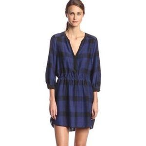 Parker Navy/Black Silk Plaid Dress